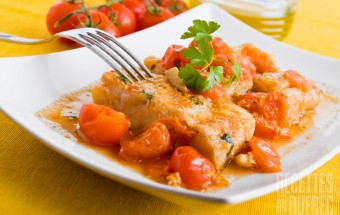 Fish and cherry tomatoes.